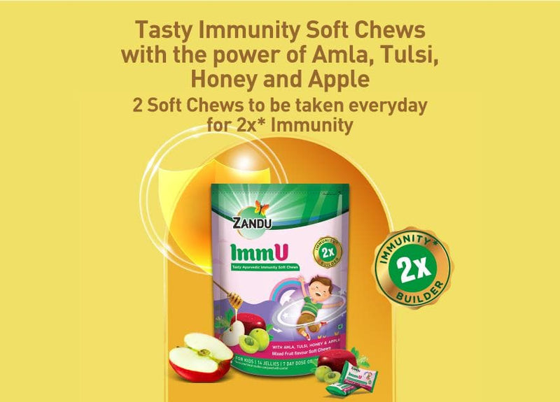 Zandu ImmU-Tasty Ayurvedic Immunity 14 Soft Chews (Pack of 5)