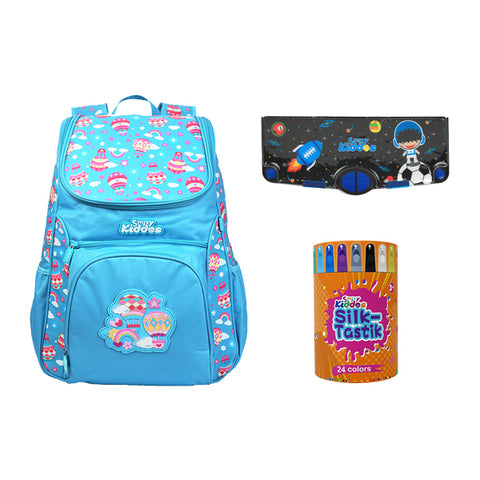 Image of Set of 3 ( Backpack, 24 silky crayon & Pencil Case)