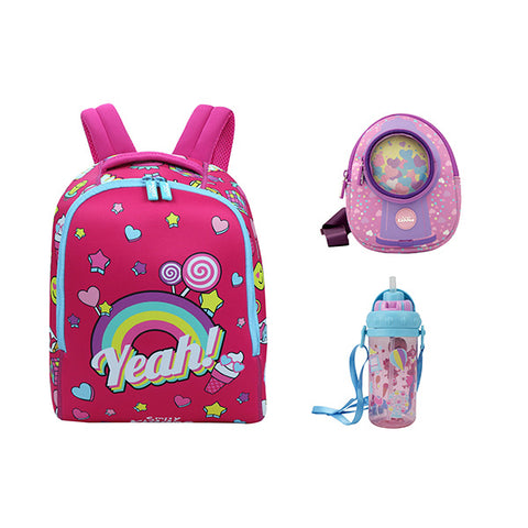 Smily Set of 3 ( Backpack, Go Out Bag & Water Bottle )