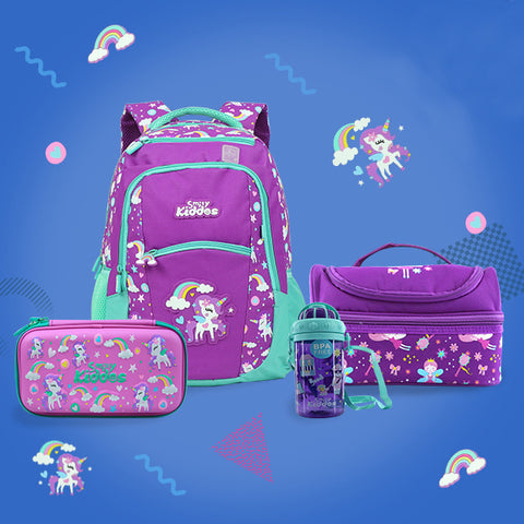 Unicorn Theme Combo Pack ( Backpack, Lunch Bag, Pencil Case, Water Bottle )