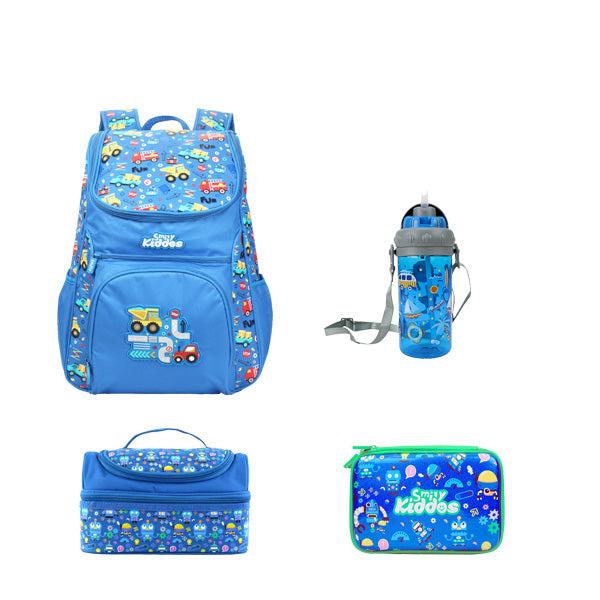 Smily Set of 4 ( Backpack, Pencil Case, Lunch Bag & Water Bottle )