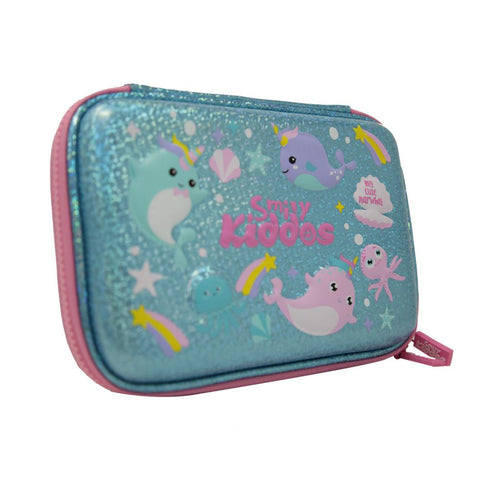 Smily Sparkle Pencil Case Narwhale Theme