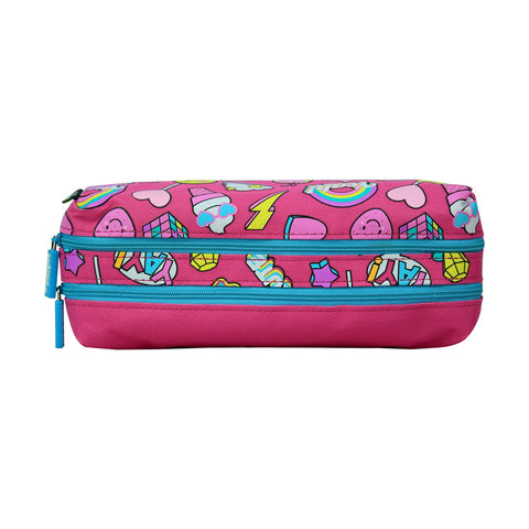 Smily Twin Zipper Pencil Pouch Pink