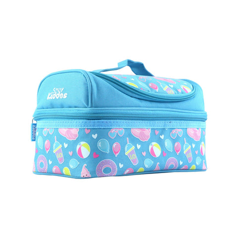 Image of Smily Dual Slot Lunch Bag Swan Theme Light Blue