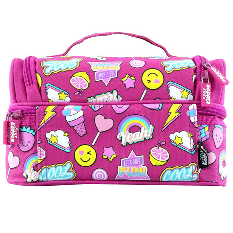 Image of Smily Dual Slot Lunch Bag Fun Theme Pink