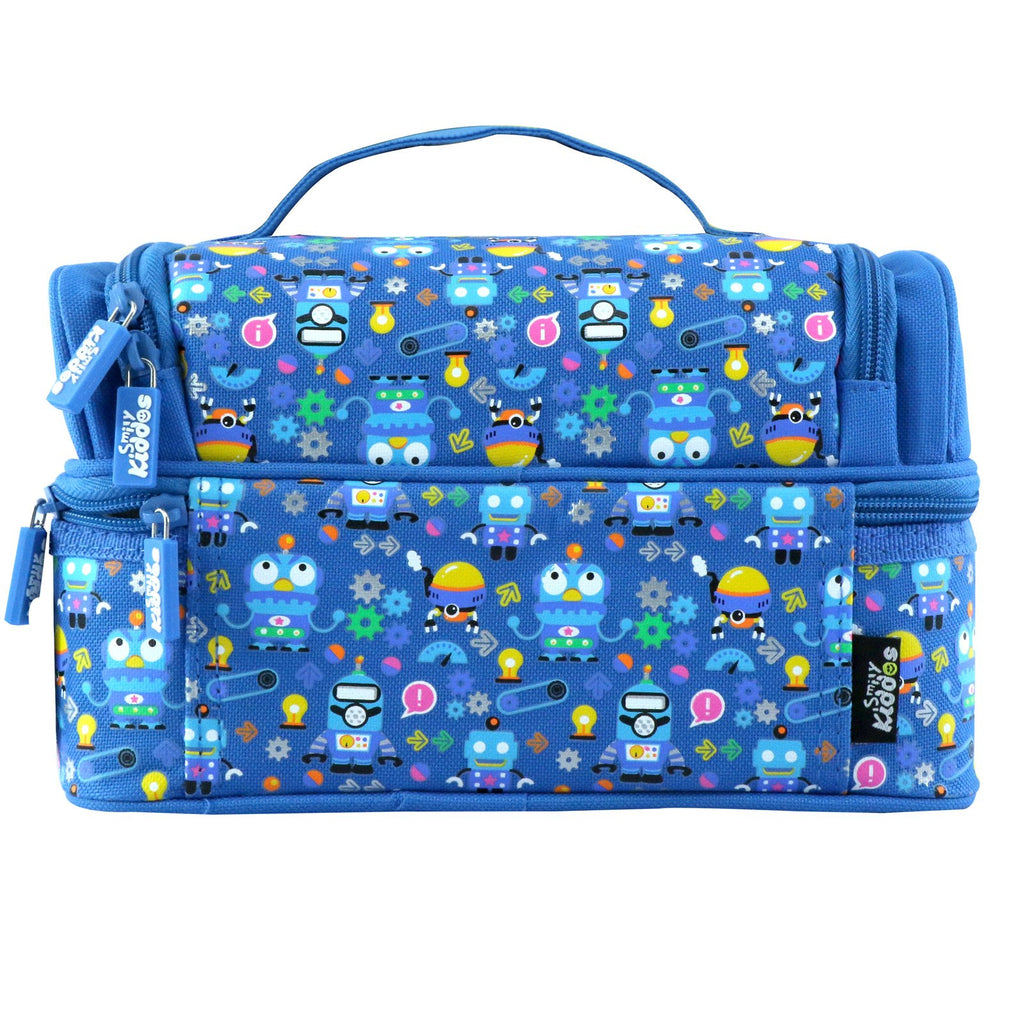 Smily Dual Slot Lunch Bag Crazy Robo Theme Blue