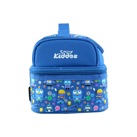 Image of Smily Dual Slot Lunch Bag Crazy Robo Theme Blue