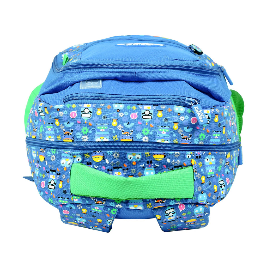 Smily Dual Color Backpack Crazy Robot Theme Blue - Kids backpacks - school backpacks