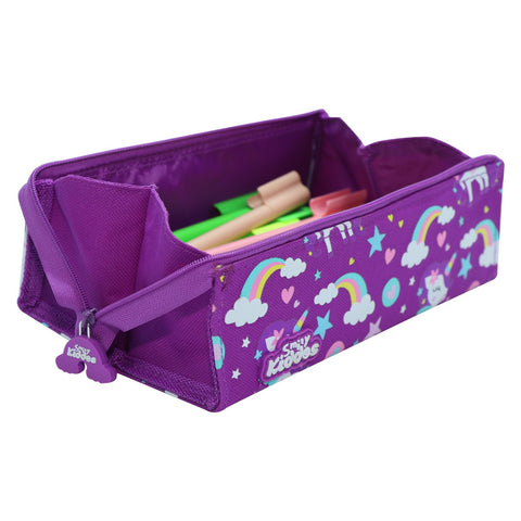 Smily Tray Pencil Case Rainbow Unicorn Theme Purple