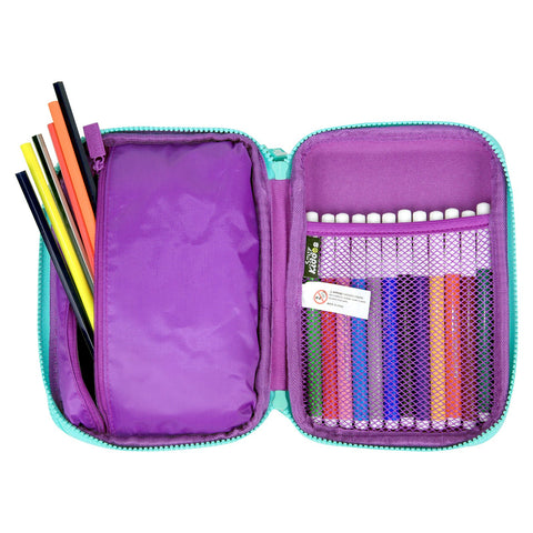 Fancy Double Compartment Pencil Case Purple