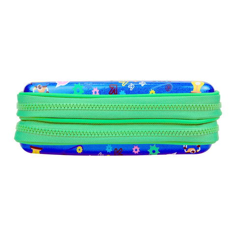 Image of Fancy Double Compartment Pencil Case Blue