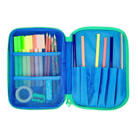Fancy Double Compartment Pencil Case Blue