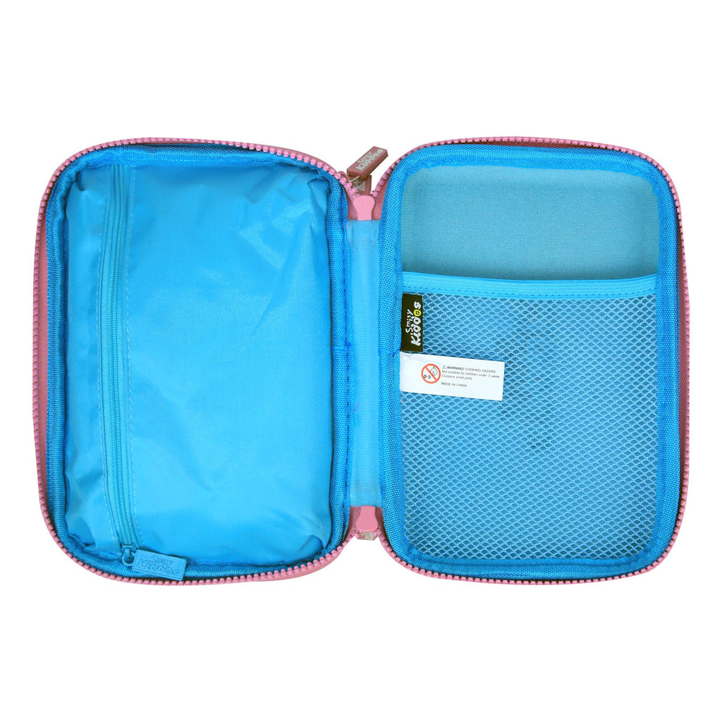Fancy Double Compartment Pencil Case Light Blue