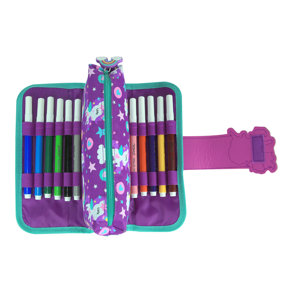 Fancy Strap Pencil Case Purple