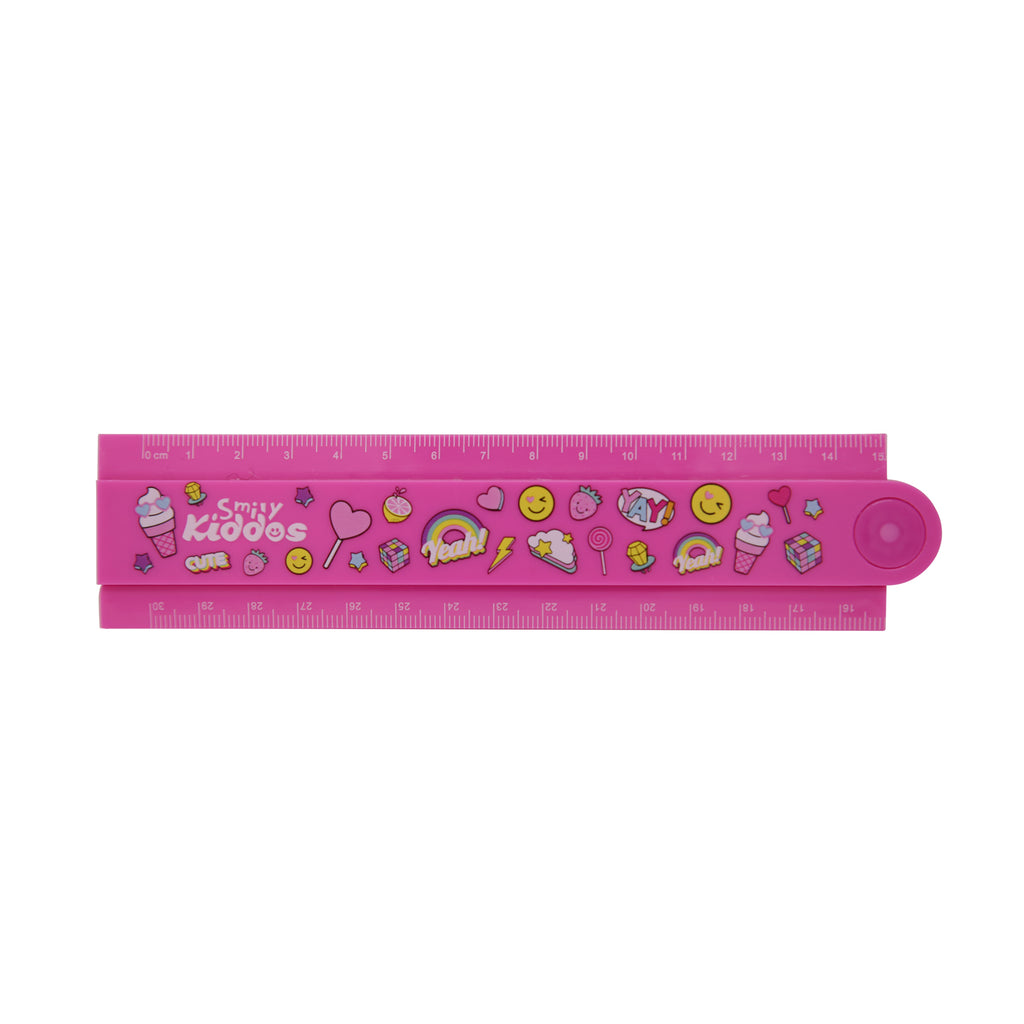 Smily Fold Up Ruler Pink