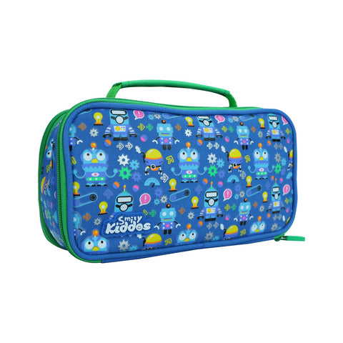 Image of Smily Multipurpose Pencil Case Crazy Robo Theme Blue