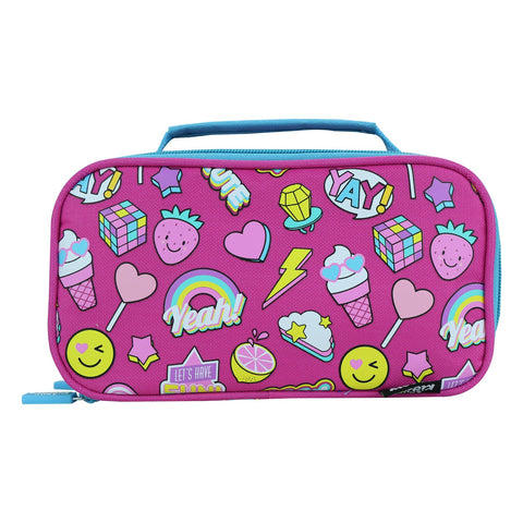 Image of Smily Multipurpose Pencil Case Fun Theme Pink