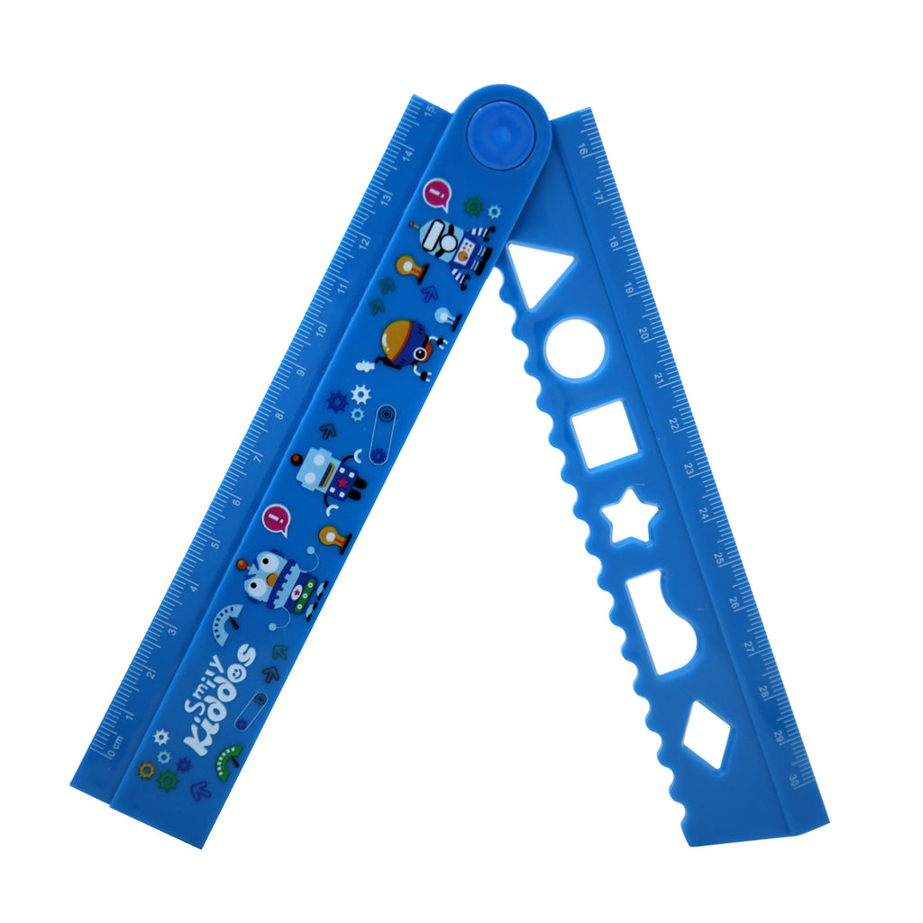 Smily Fold Up Ruler Blue