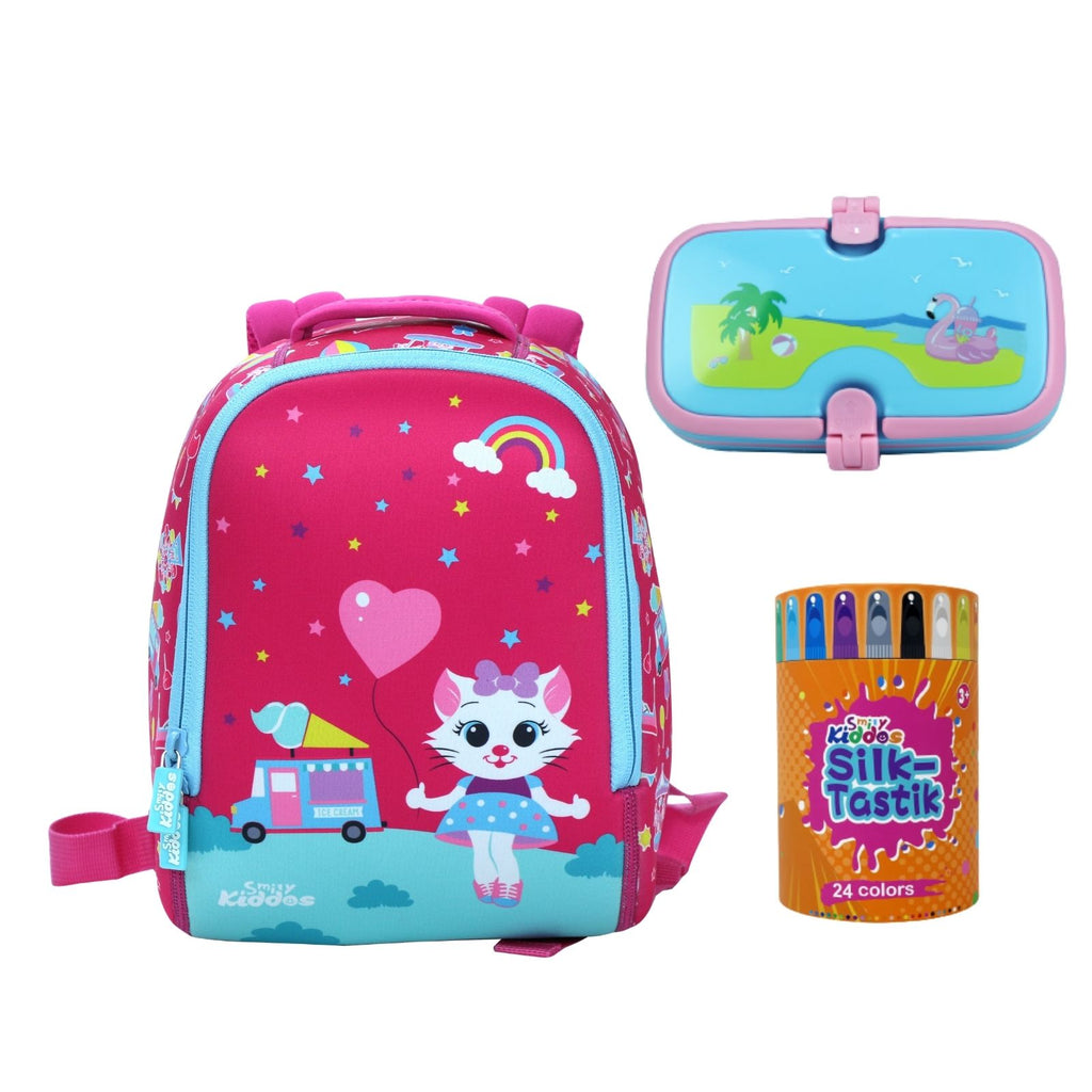 Smily Set of 3 ( Backpack, 24 Silky Crayon & Lunch Box )