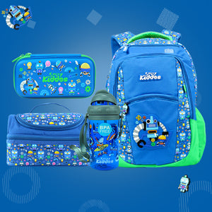 Robot Theme Combo Pack ( Backpack, Lunch Bag, Pencil Case, Water Bottle )