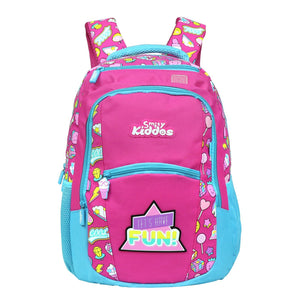 Smily Dual Color Backpack Fun Theme Pink