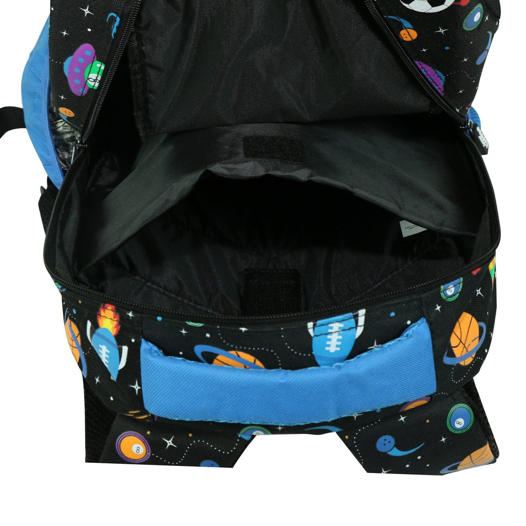 Smily Dual Color Backpack Space Theme Black
