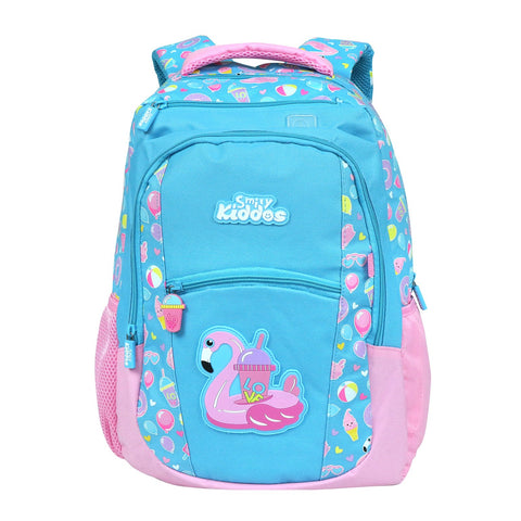 Image of Smily Dual Color Backpack Swan Theme Light Blue