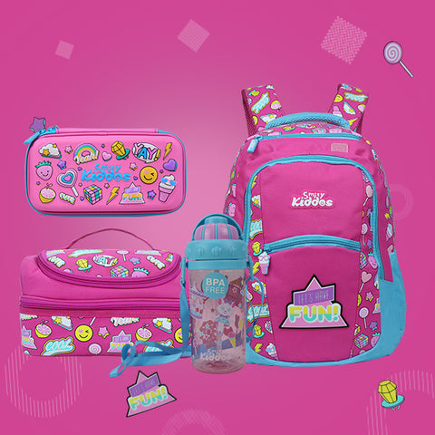 Image of Fun Theme Combo Pack ( Backpack, Lunch Bag, Pencil Case, Water Bottle )