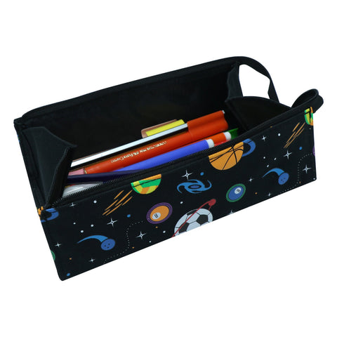 Image of Smily Tray Pencil Case Space Theme Black