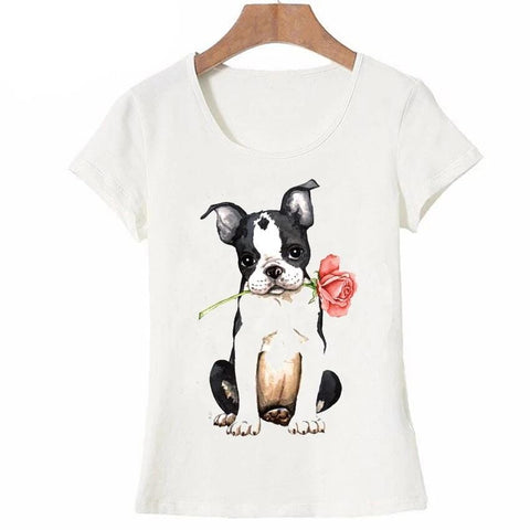 T-shirt Chien <br> Boston Terrier Romantique