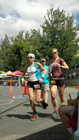 Ellie Greenwood, with pacer Ryne Melcher, on her way to winning Western States 100, 2012