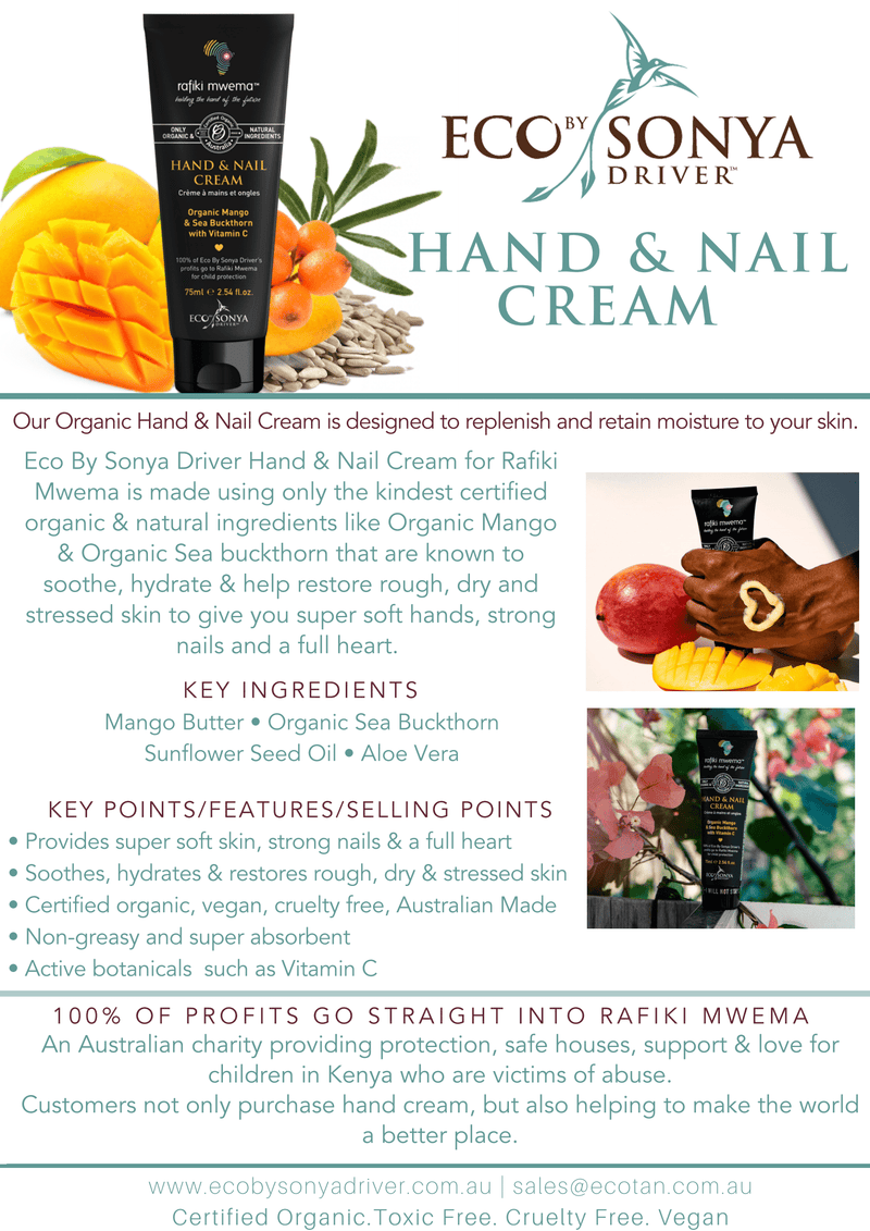 Eco By Sonya Rafiki Hand & Nail Cream Natural Skincare Eco Tan Pty Ltd