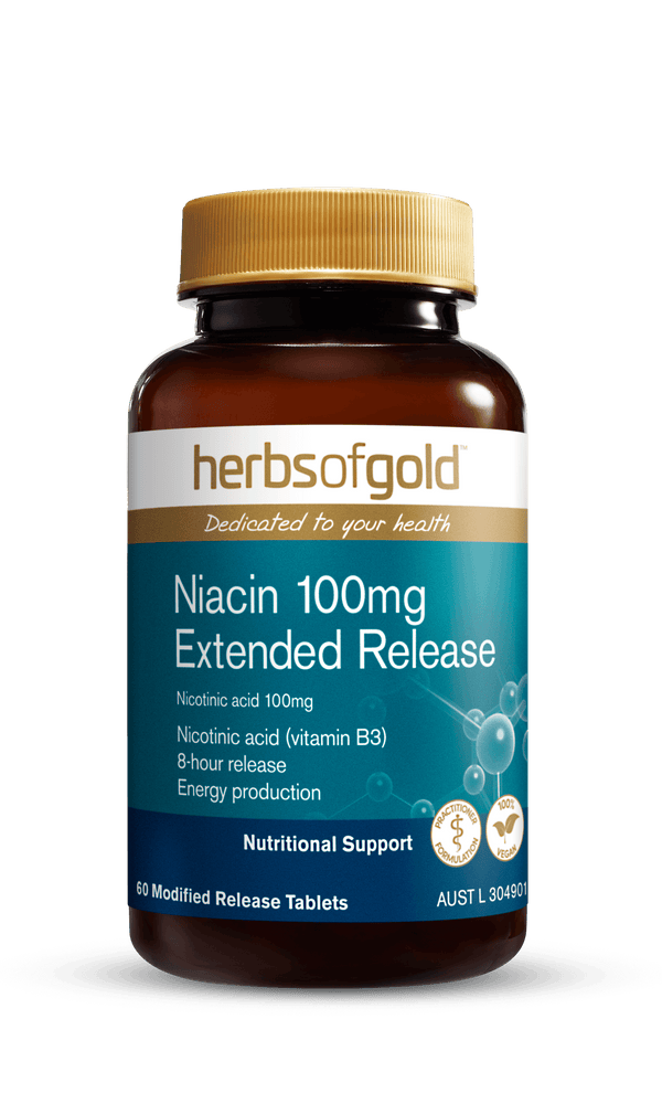 Herbs of Gold Niacin 100mg Extended Release Supplement Herbs of Gold Pty Ltd