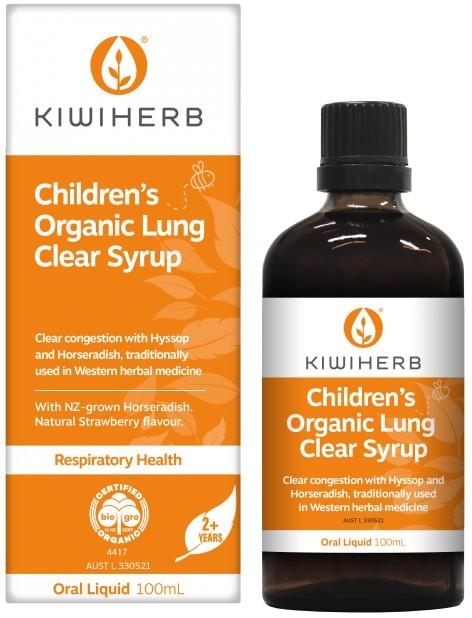 KiwiHerb Childrens Organic Lung Clear Syrup Supplement Oborne Health Supplies
