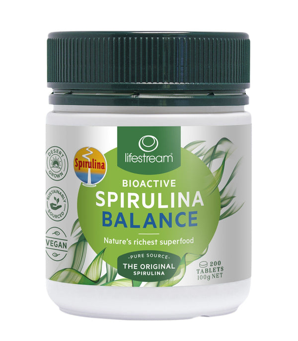 Lifestream Bioactive Spirulina Balance Tablets Supplement Integria Health Care 200 tabs