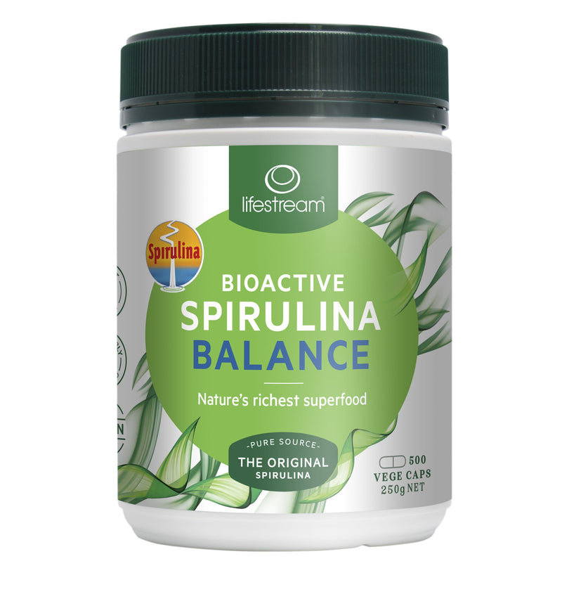 Lifestream Bioactive Spirulina Balance Vege Capsules Supplement Integria Health Care 500caps