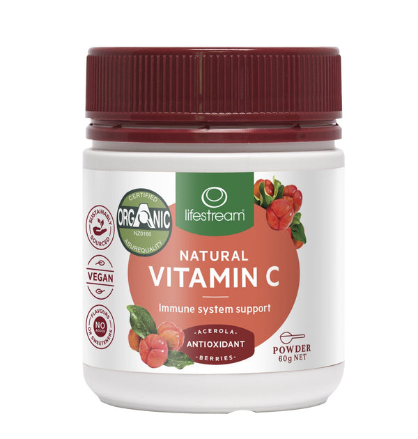 Lifestream Natural Vitamin C (Acerola Berries) 60g Powder Supplement Integria Health Care