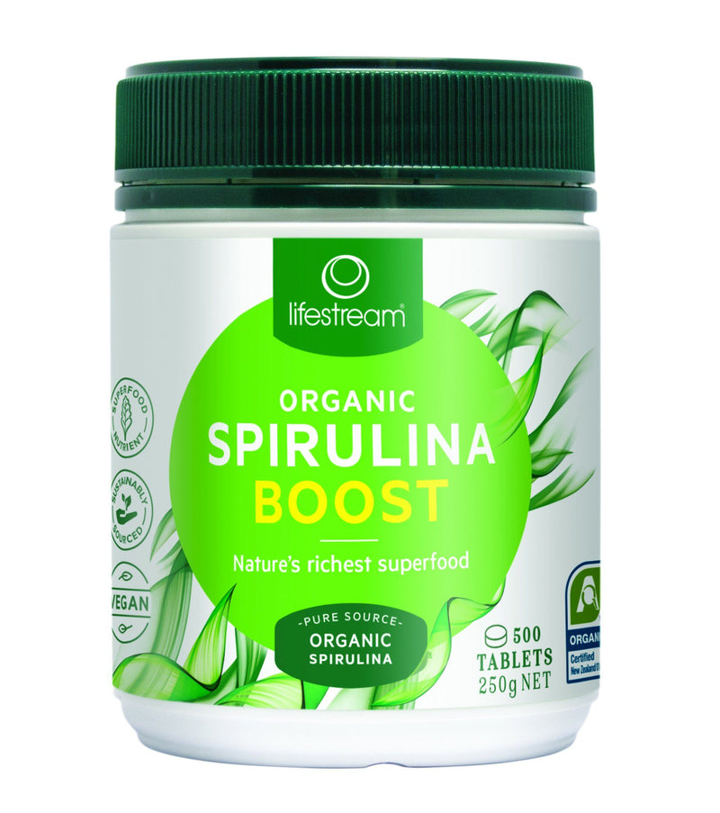 Lifestream Organic Spirulina Boost Tablets Supplement Oborne Health Supplies 500 tabs