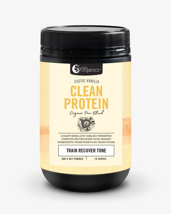 NutraOrganics Clean Protein Exotic Vanilla 500g Supplement Oborne Health Supplies