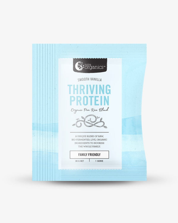 NutraOrganics Thriving Protein Smooth Vanilla Sachet Supplement Oborne Health Supplies