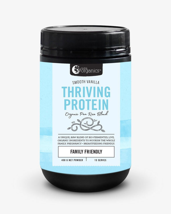 NutraOrganics Thriving Protein Smooth Vanilla Supplement Oborne Health Supplies 450g
