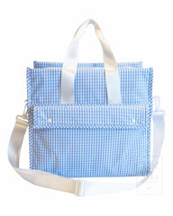 First Class Tote Or Diaper Bag Gingham Sky