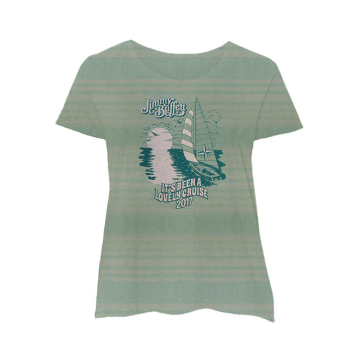 It's Been A lovely Cruise Ladies Green Stripe Tee