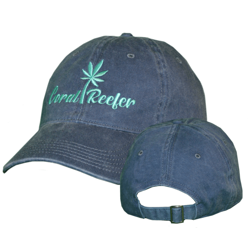 Coral Reefer Navy Blue Hat with Writing