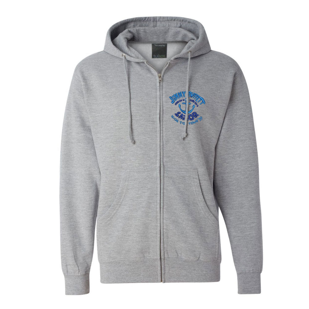 Chunky Grey Zip Up Hoodie with Logo Patch