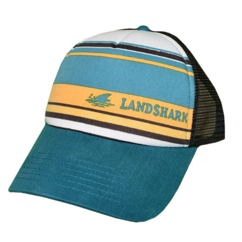 Jimmy Buffett Landshark Hat Blue and Yellow Stripes