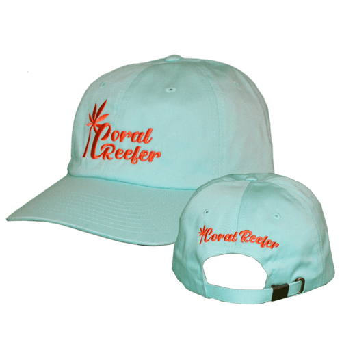 Coral Reefer Sea Foam Green Hat with Orange Writing
