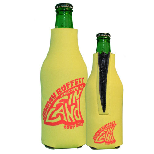 Welcome To Finland Tour 2012 Yellow Zip Bottle Koozie with Orange Writing