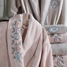 Load image into Gallery viewer, Powder-pink bamboo-cotton women`s robe decorated with knitted 3D flowers