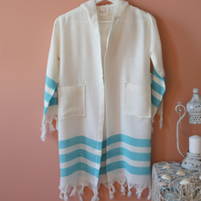 Load image into Gallery viewer, Kids Turquoise Bathrobe